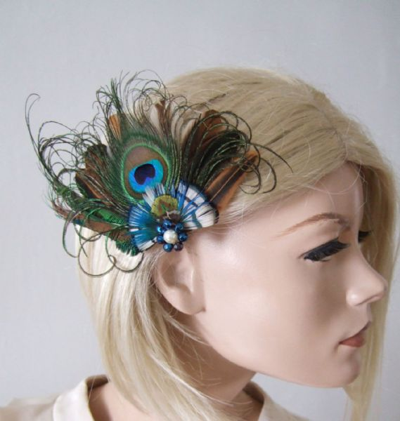 "Natural Peacock Brown Blue Nudes Feathers Fascinator Hair Clip ""Alloma"""